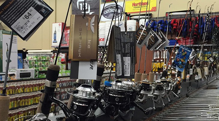 Fishing rods on display at Newbys Ace Hardware