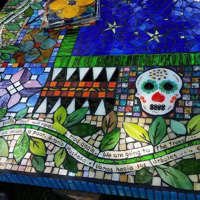 Latino Folk Art Garden mosaic table