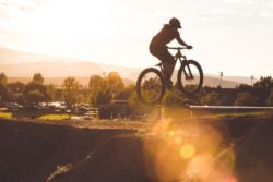 mountain biking sun flare