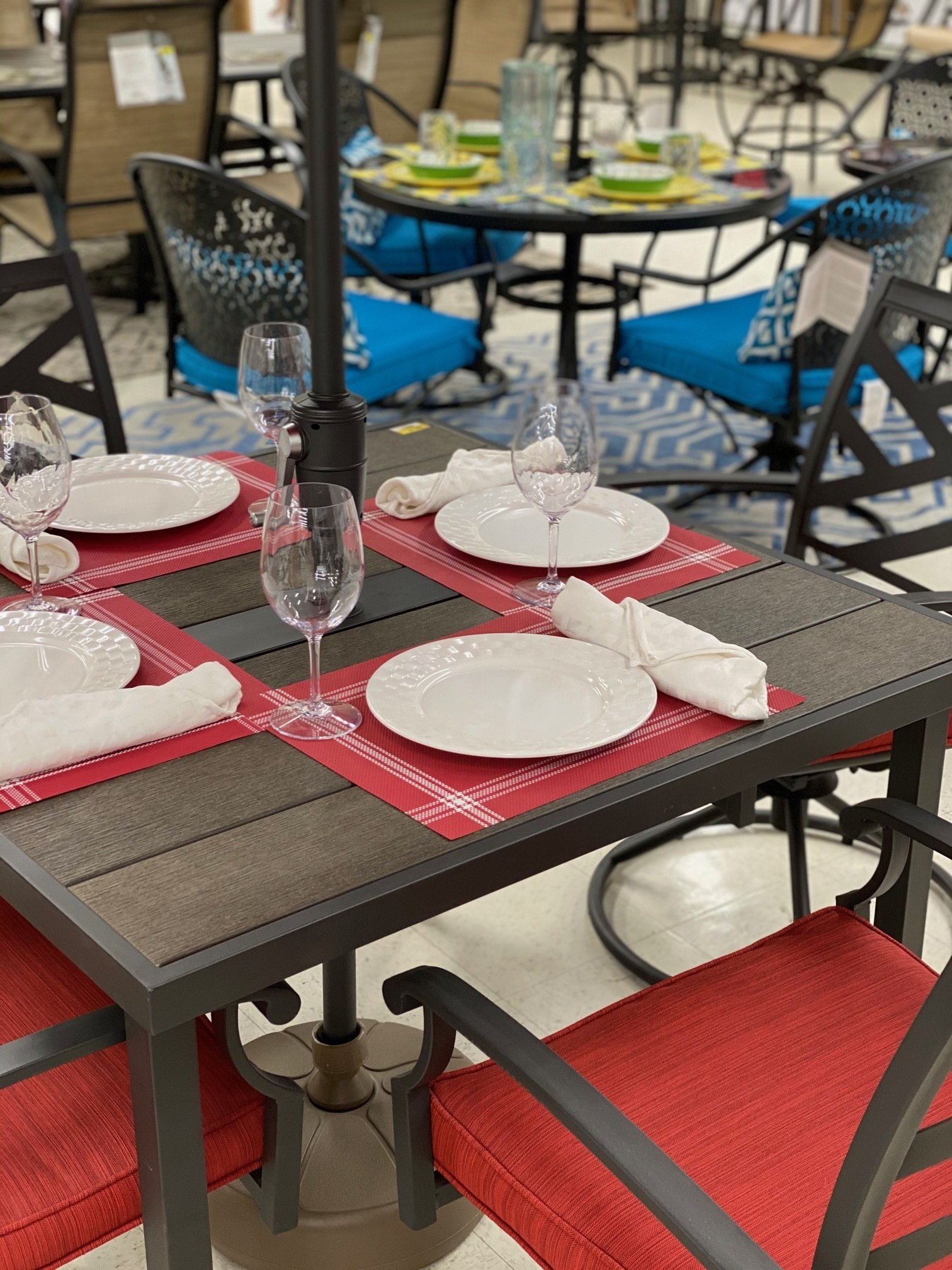 red and brown outdoor living patio furniture