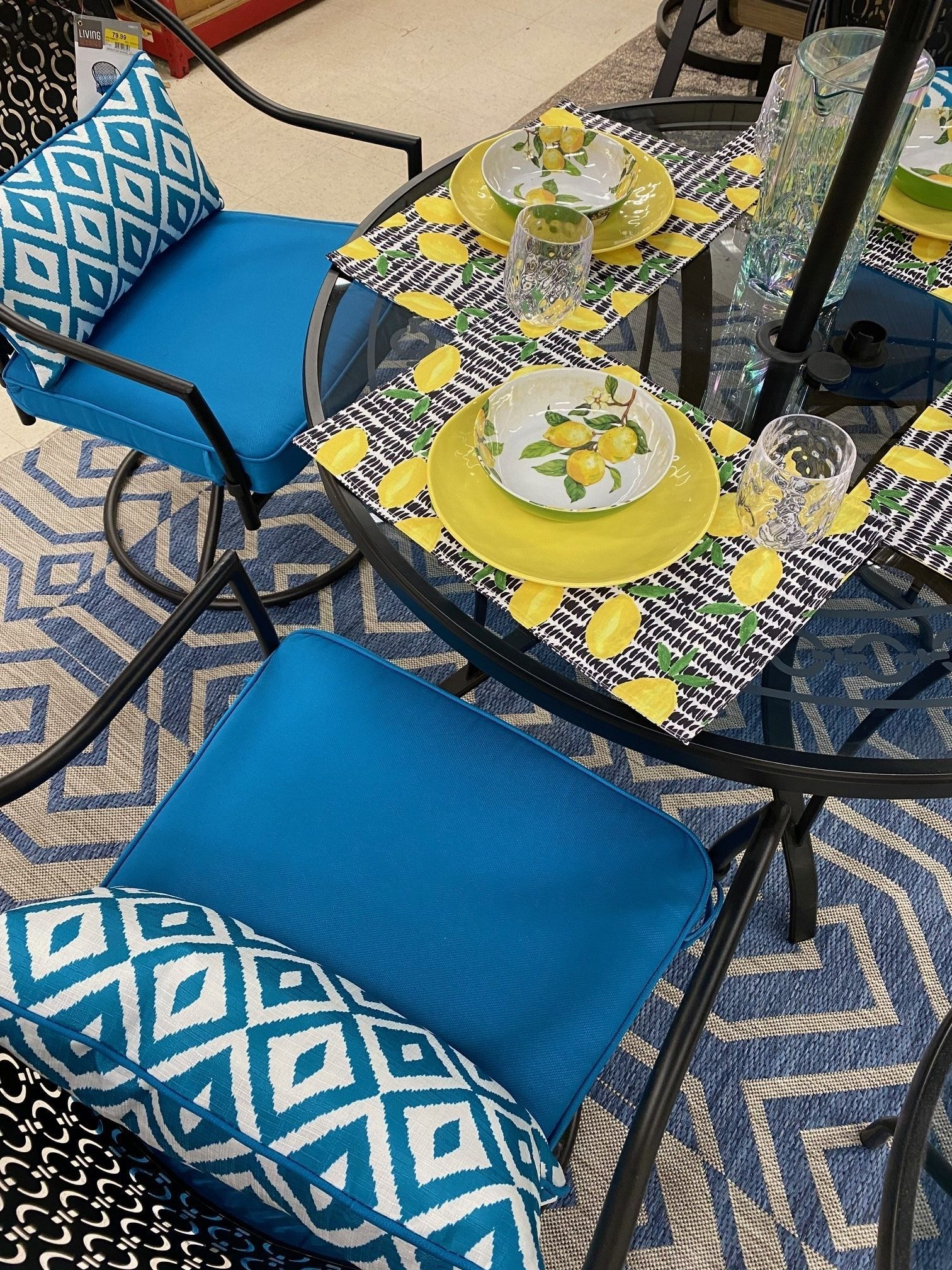 blue outdoor living patio set