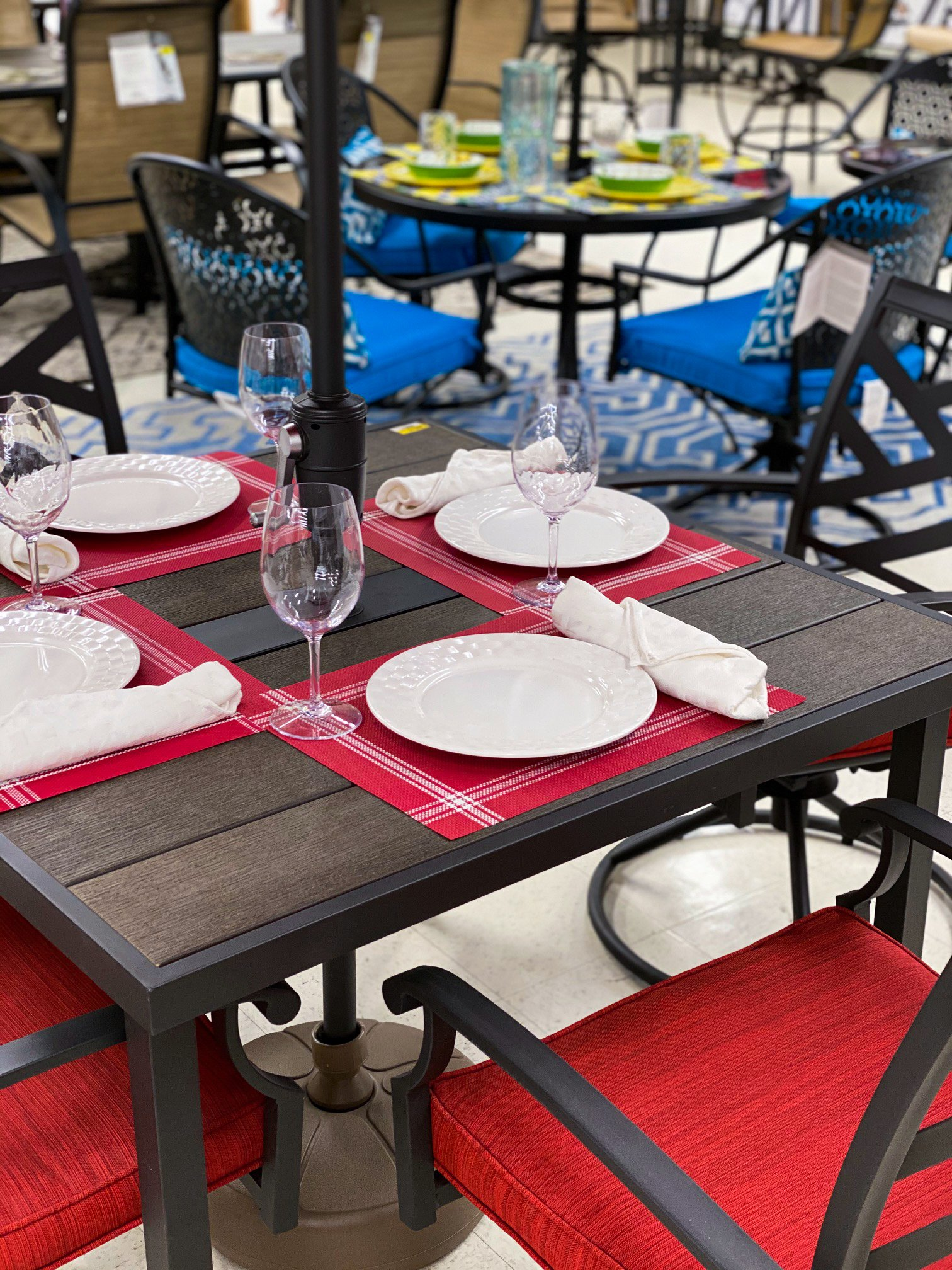 red and brown outdoor living patio set