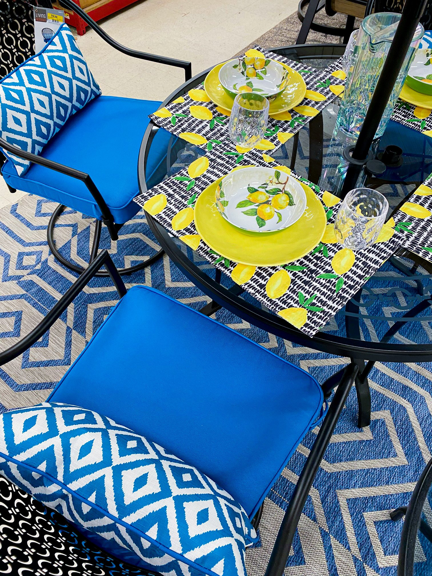 blue and yellow outdoor living patio set