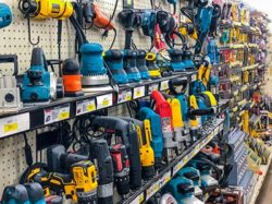 various brands of power tools on display at Brown & Roberts Ace hardware