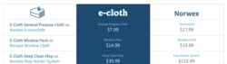 pricing chart indicating differences between e-Cloth and Norwex