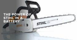 Power of STIHL on a battery-powered chainsaw