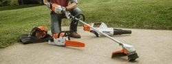 worker preparing his STIHL lightning battery system trimmer
