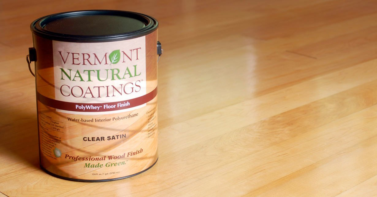 VT Natural Coatings Can on a hardwood floor