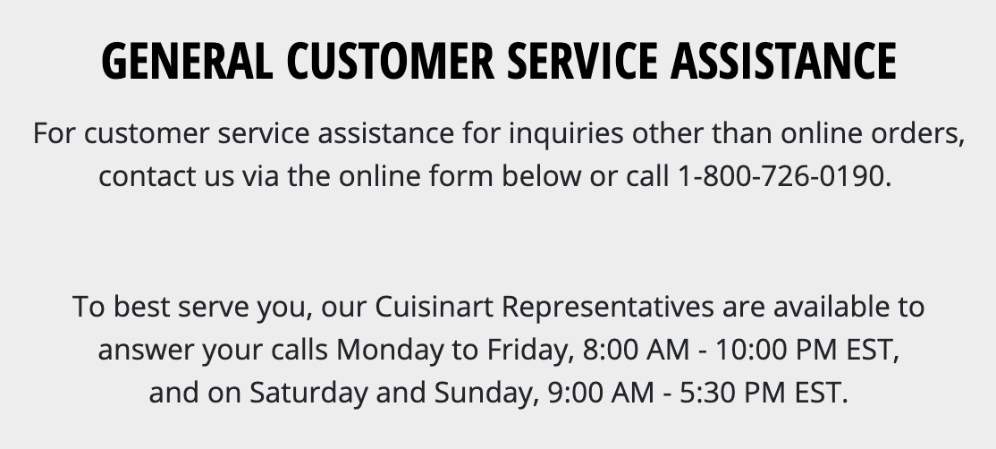 Customer assistance contact info