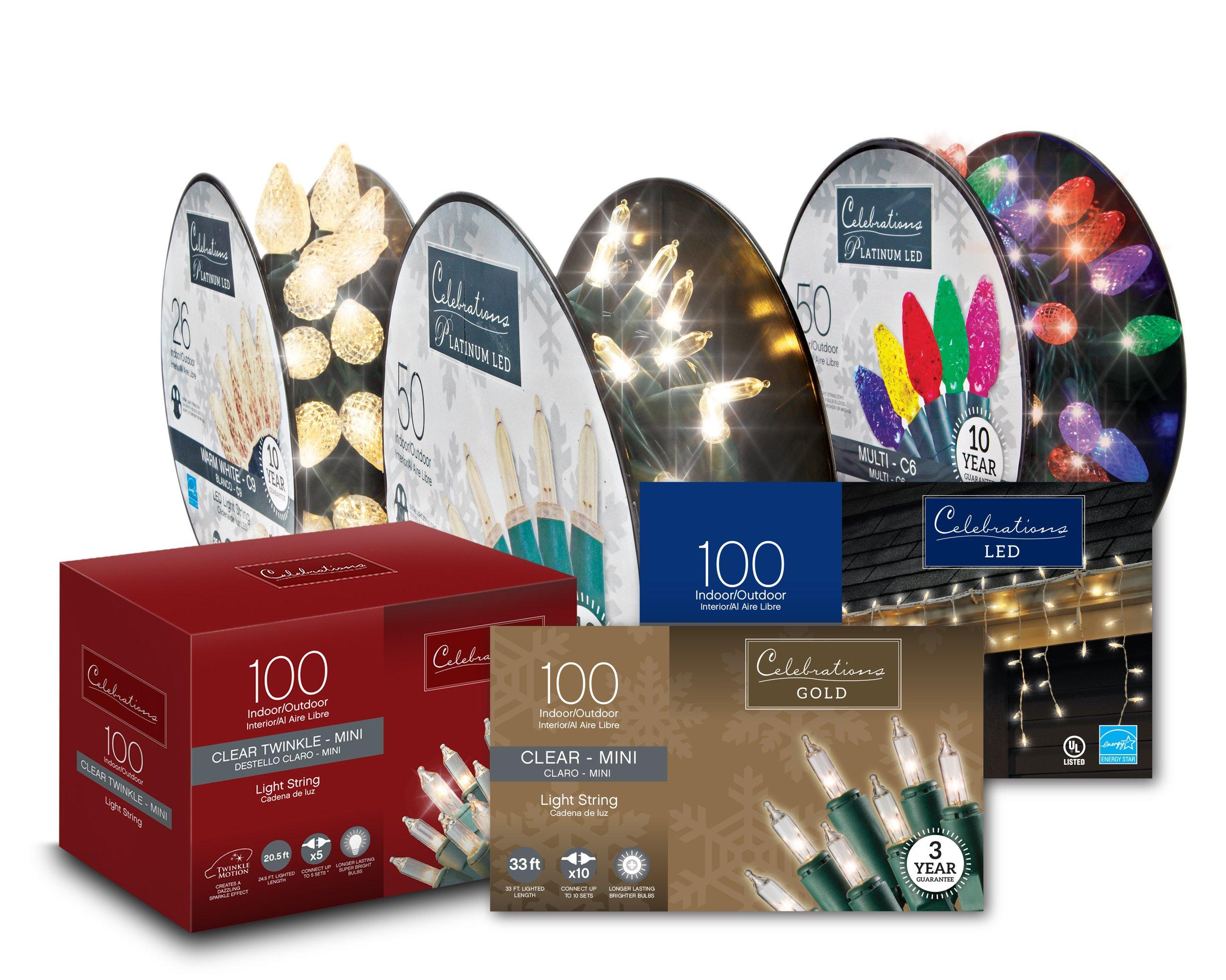 assortment of Celebrations holiday lights