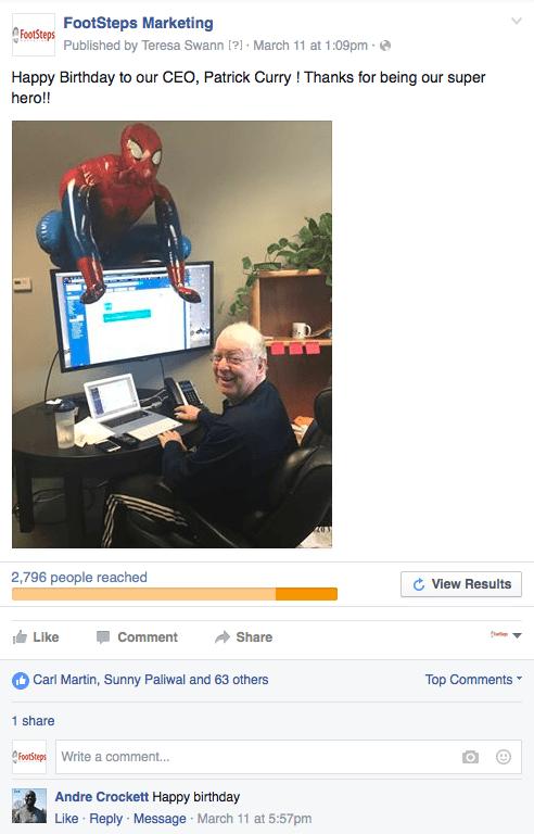 fun Facebook post example