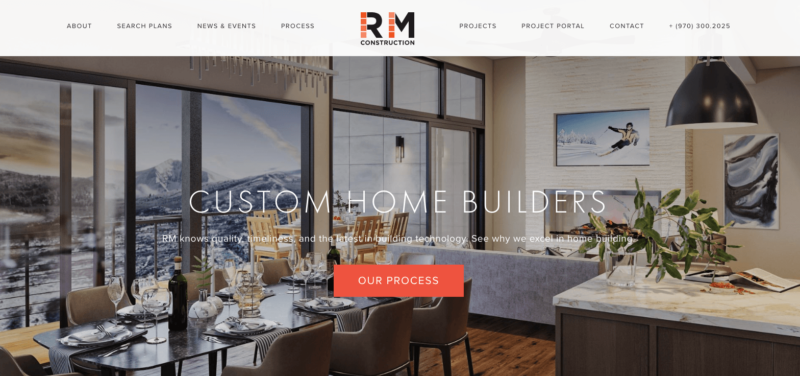 RM Construction homepage