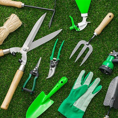 Image of gardening tools lying in the grass.