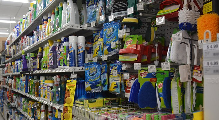 Shelves of cleaning supplies at Carbondale Ace