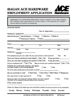hagan ace employment application hagan ace hardware