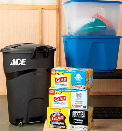 Trash Cans, Trash Bags, Storage Boxes