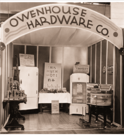 owenhouse hardware black and white photo of antique booth