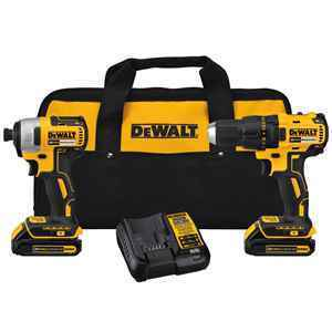 DeWalt Cordless 2 tool Compact Drill and Impact Driver Kit thumbnail