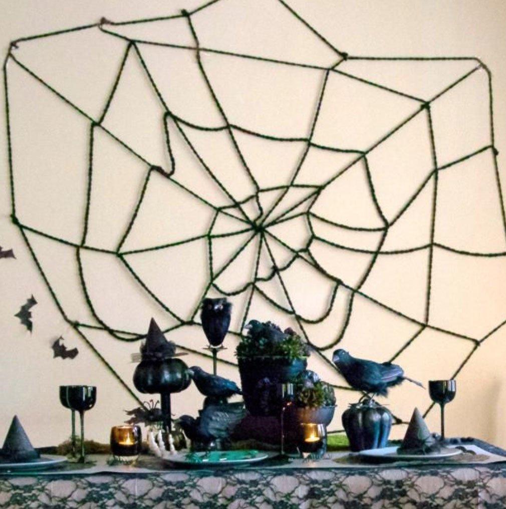 Rope or Yarn DIY Spider Webs