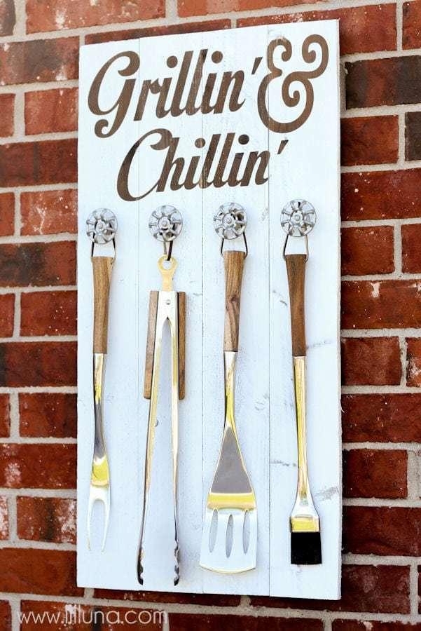 DIY grill set holder for dad - Bozeman, Montana