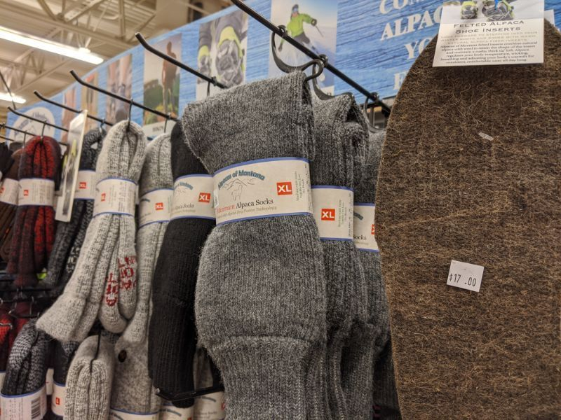 alpaca of montana socks at owenhouse ace hardware - Bozeman, Montana