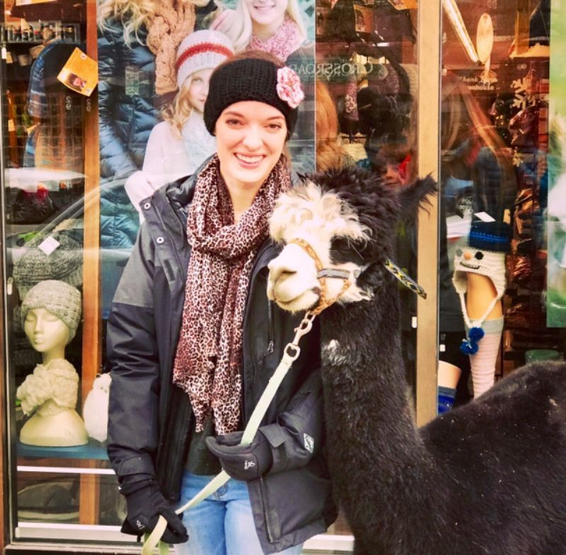 woman wearing alpaca wool while hold an alpaca on a leash - Bozeman, Montana