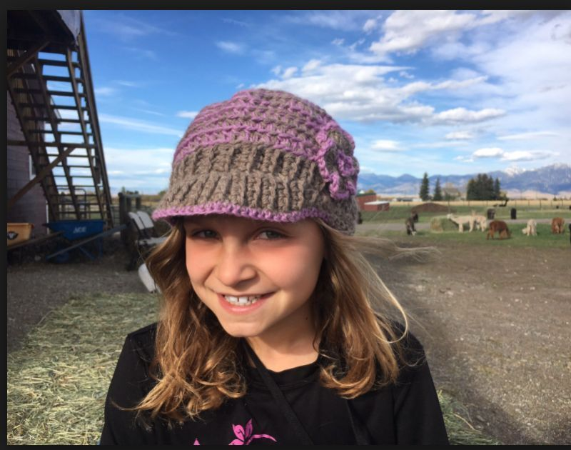 alpaca wool hat on young girl - Bozeman, Montana