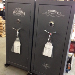 Picture of two guns safes - a Superior Safe and a Champion Safe