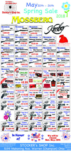 Stocker's Spring Mossberg & Kimber Sale this May 20th - 26th 2018 only!!!