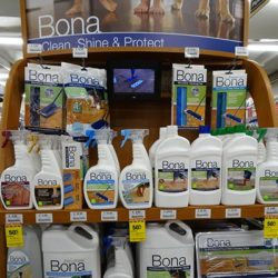 Display of all Bona cleaning/polishing products for floors