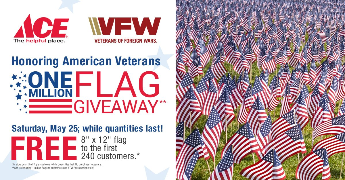 Saturday, May 25 Honoring our Veterans, Free 8X12 flag to the first 240 customers! thumbnail