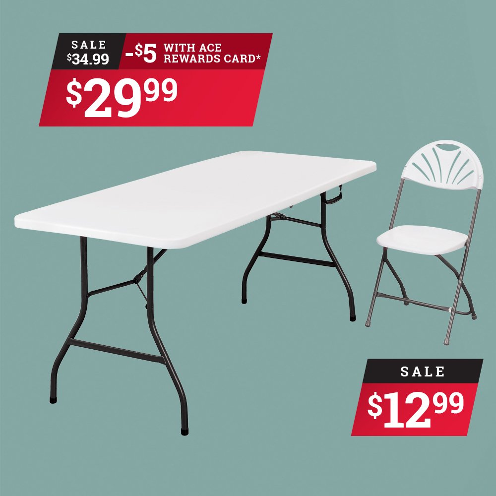 Perfect for Tailgating! Ace Reward Members save $5 on Living Accents 6' Fold-in-Half Table. Limit 2, sale ends September 30th. thumbnail