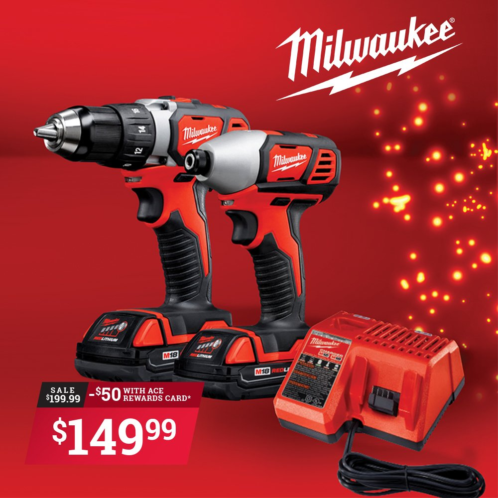 Ace Reward Members save $50 on this Milwaukee M18 Compact Drill/Driver & Impact Driver Combo Kit. *Sale runs December 3rd to December 24th, limit four at this price. thumbnail