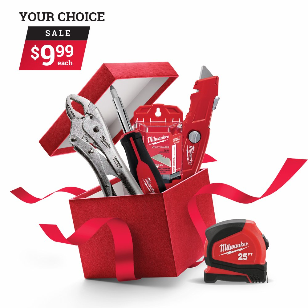 Get your choice of select Milwaukee tools and accessories for only $9.99. *Sale runs December 3rd to December 24th. thumbnail