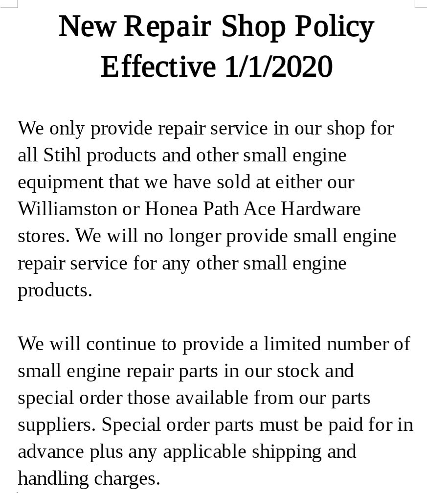 New Repair Shop Policy Notice thumbnail