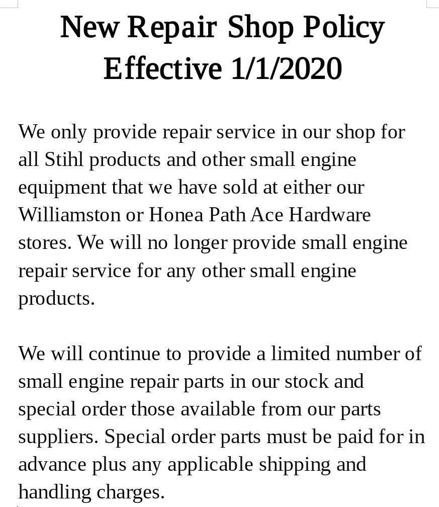 New Repair Shop Policy Notice thumbnail