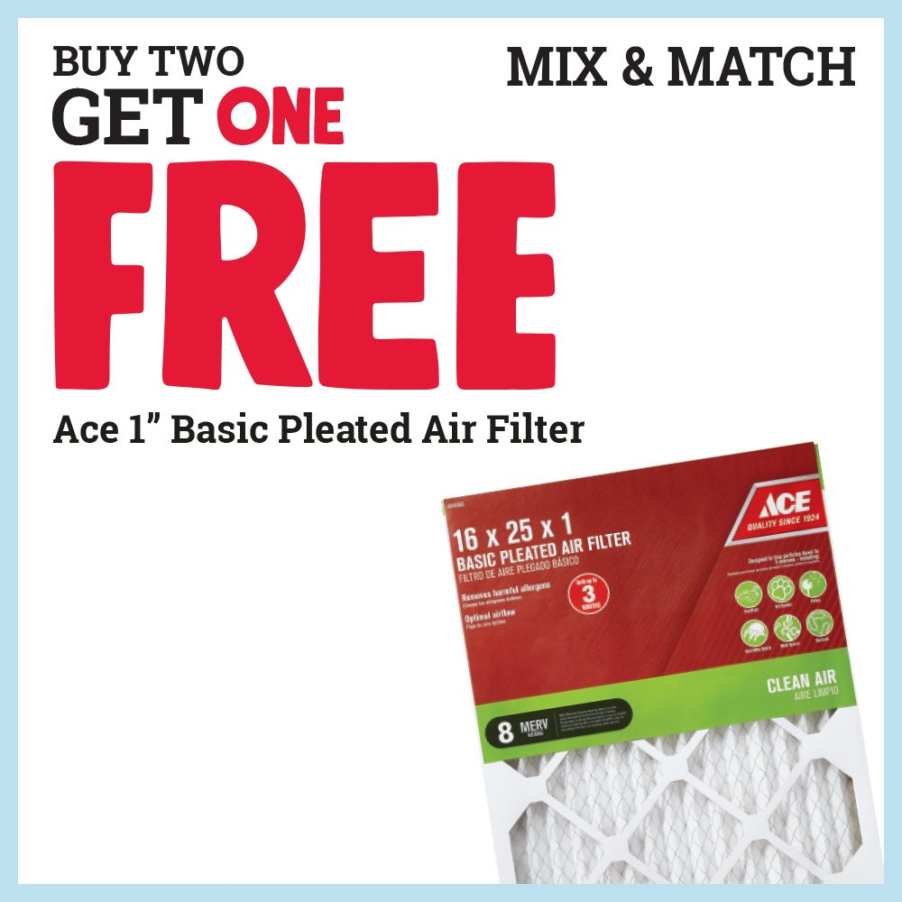 """Buy two Ace 1"""" basic pleated air filters and you'll get a third FREE! *Free filter must be of equal or lesser value. Sale ends August 31. thumbnail"""