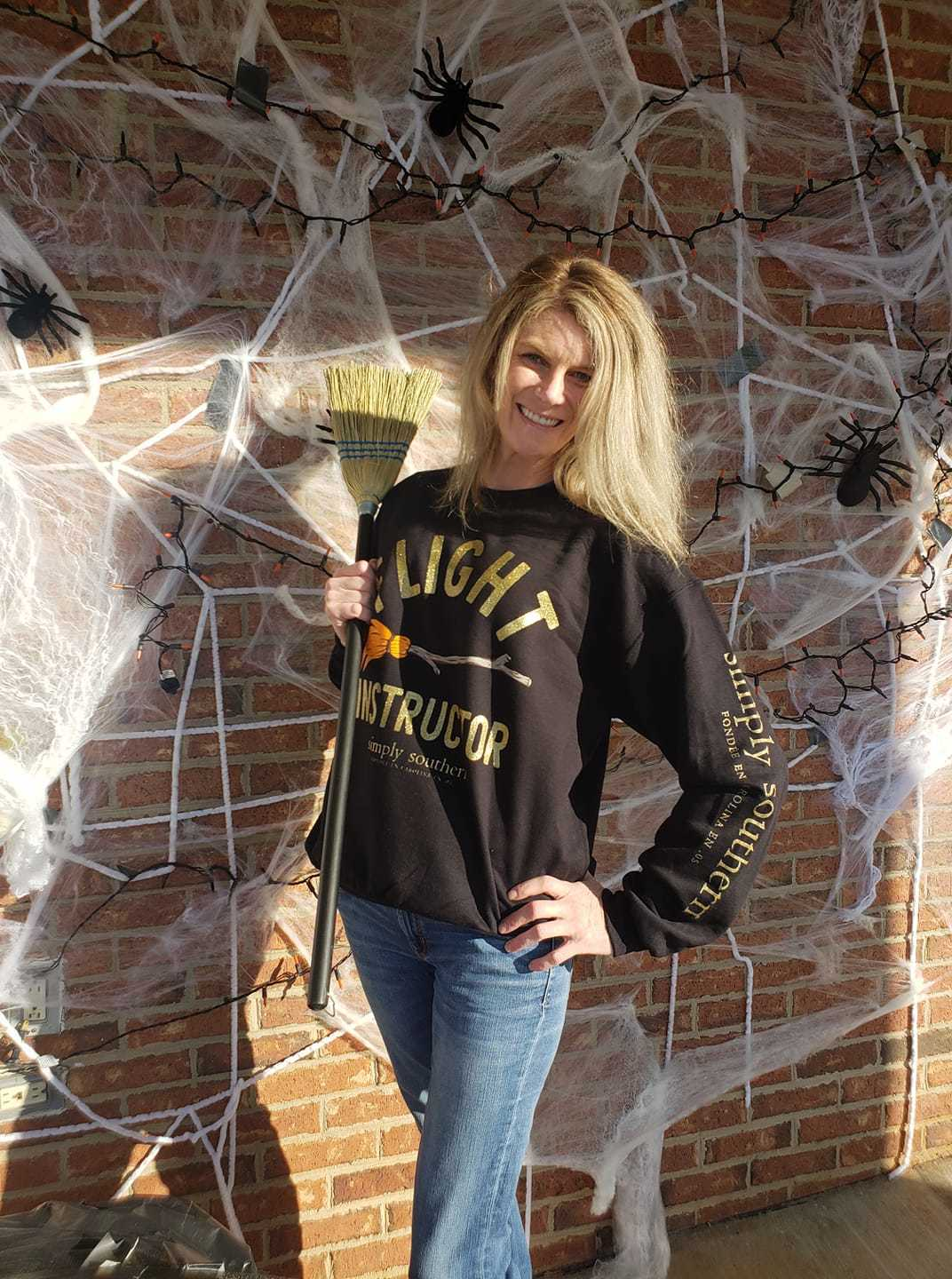 Get your Spooky on with Simply Southern🎃🧙♀️ Flight Instructor 🧹sweatshirt now in stock in our Williamston location. Warm and comfy for those Fall🍂 nights. thumbnail
