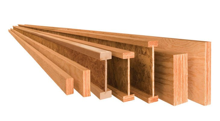 Image of 7 pieces of engineered lumber