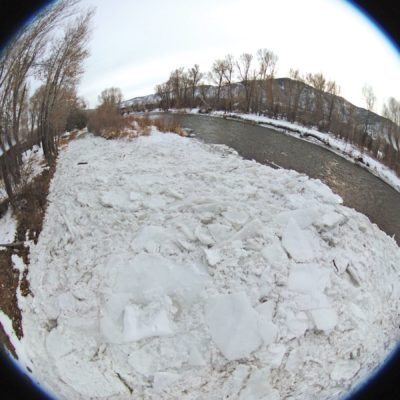 Rare triple ice flow flushes through Roaring Fork River in Basalt thumbnail