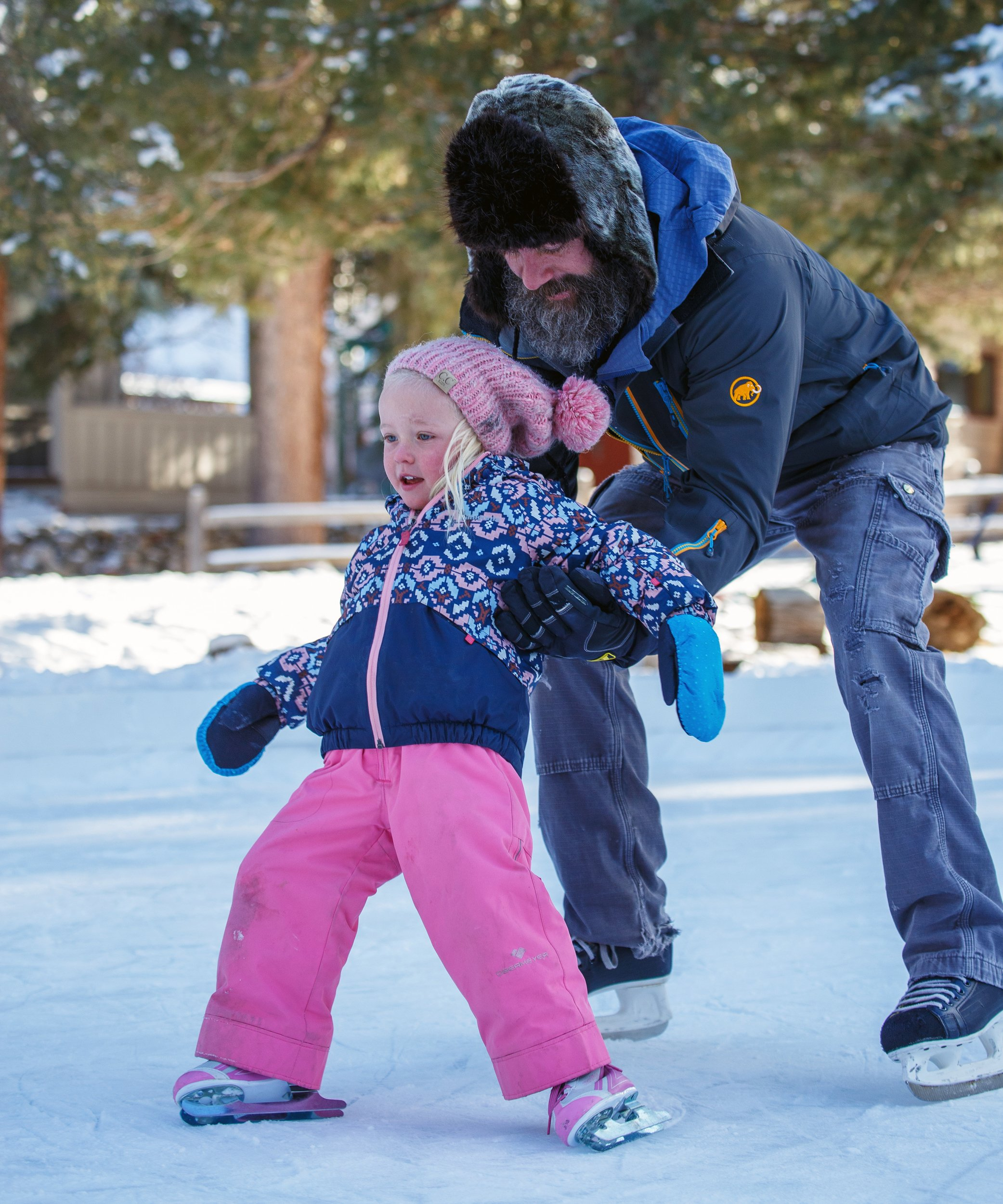 The ice rink in Redstone is a popular place for youngsters to learn to skate — with a little help. Photo by Sue Rollyson