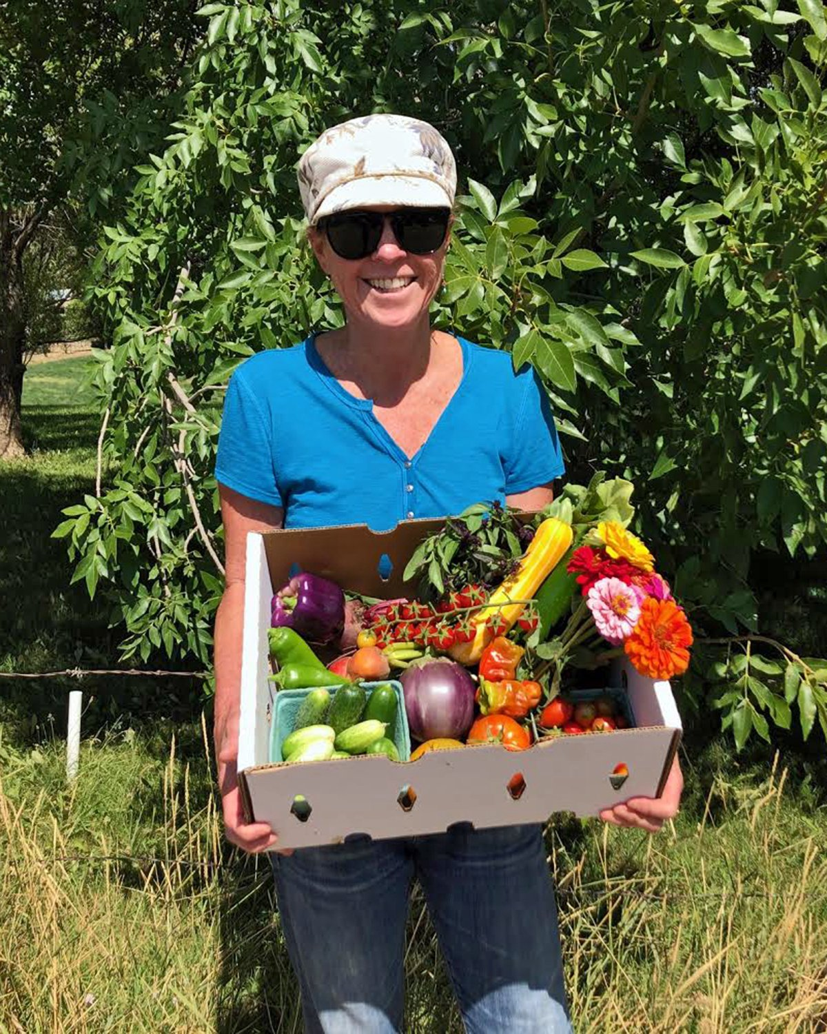 Mountain Freshies co-owner Nancy Scheinkman proudly displays a vibrant summer produce box. Gearing up for a busy winter, Scheinkman and her business and life partner Greg Olsky are ready to offer delicious winter citrus to residents of the RFV.. Courtesy photo