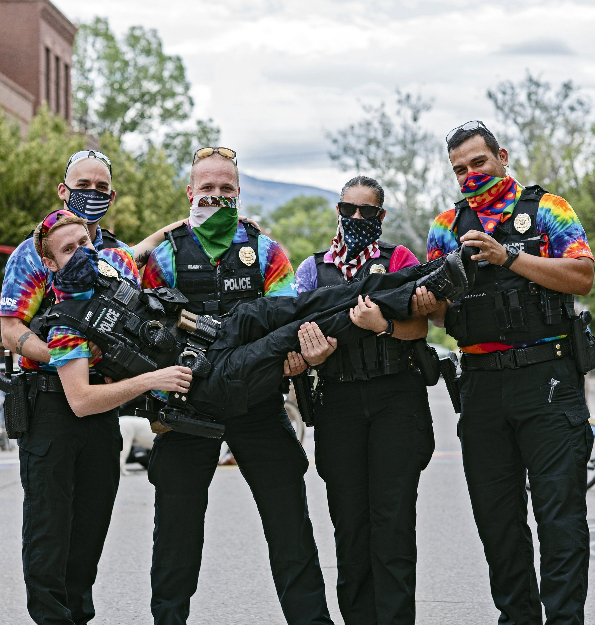 On Mountain Fair weekend masked cops were wearing the traditional tie dye. Photo by Laurel Smith