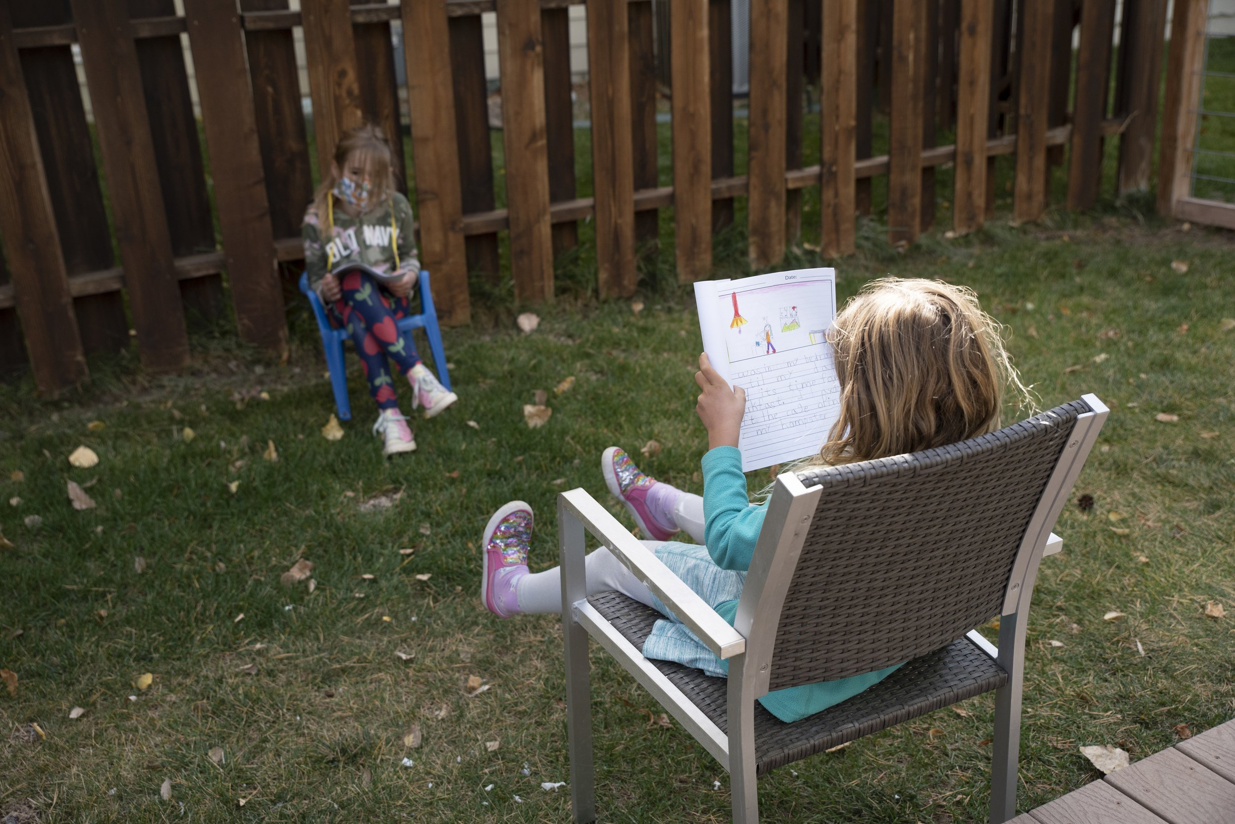 """Ellie practices reading her personal narrative to Sterling in anticipation of our """"authors celebration."""""""