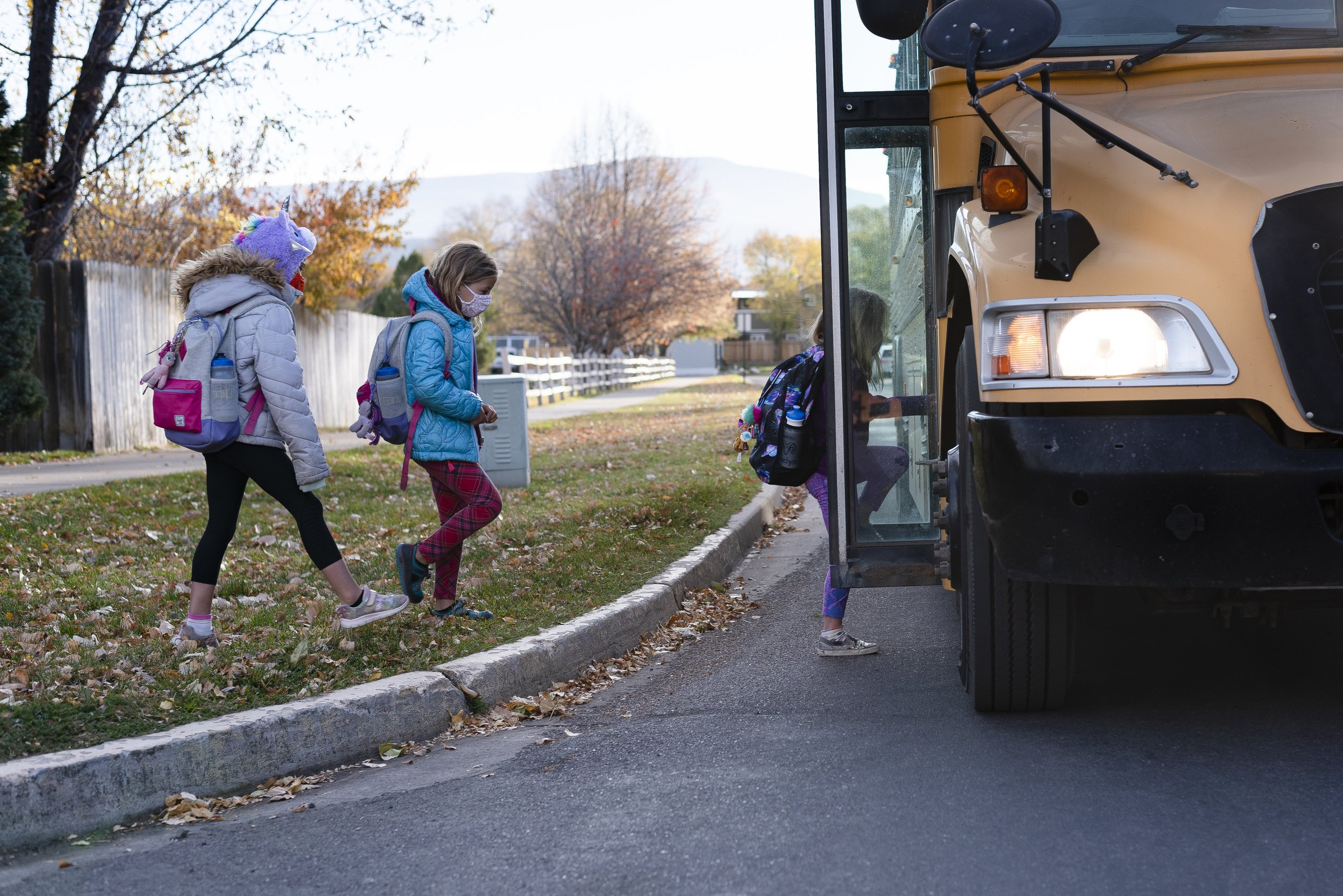 After eight months with no in-person classes at their school, Mary, Ellie, and Evelyn board a school bus. Our pod ended and all six students returned to in-person learning at Crystal River Elementary School as soon as it resumed on October 18th.