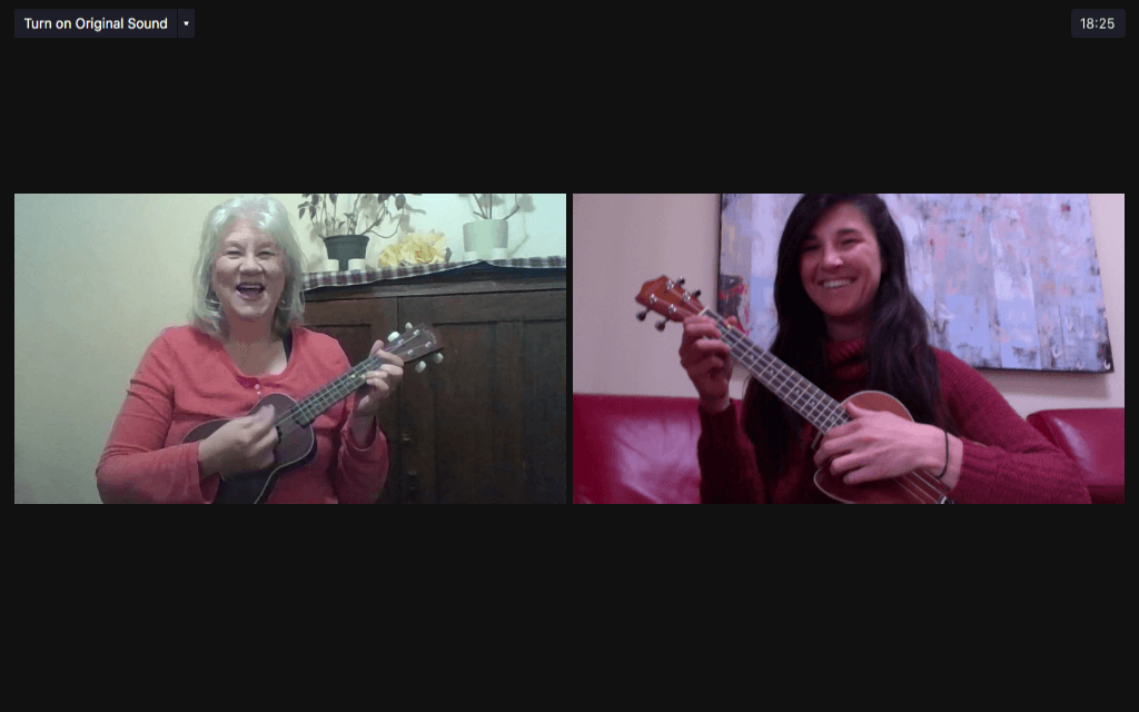 Jeanne Souldern and Natalie Spears practice on Zoom. Screenshot by Staci Dickerson.