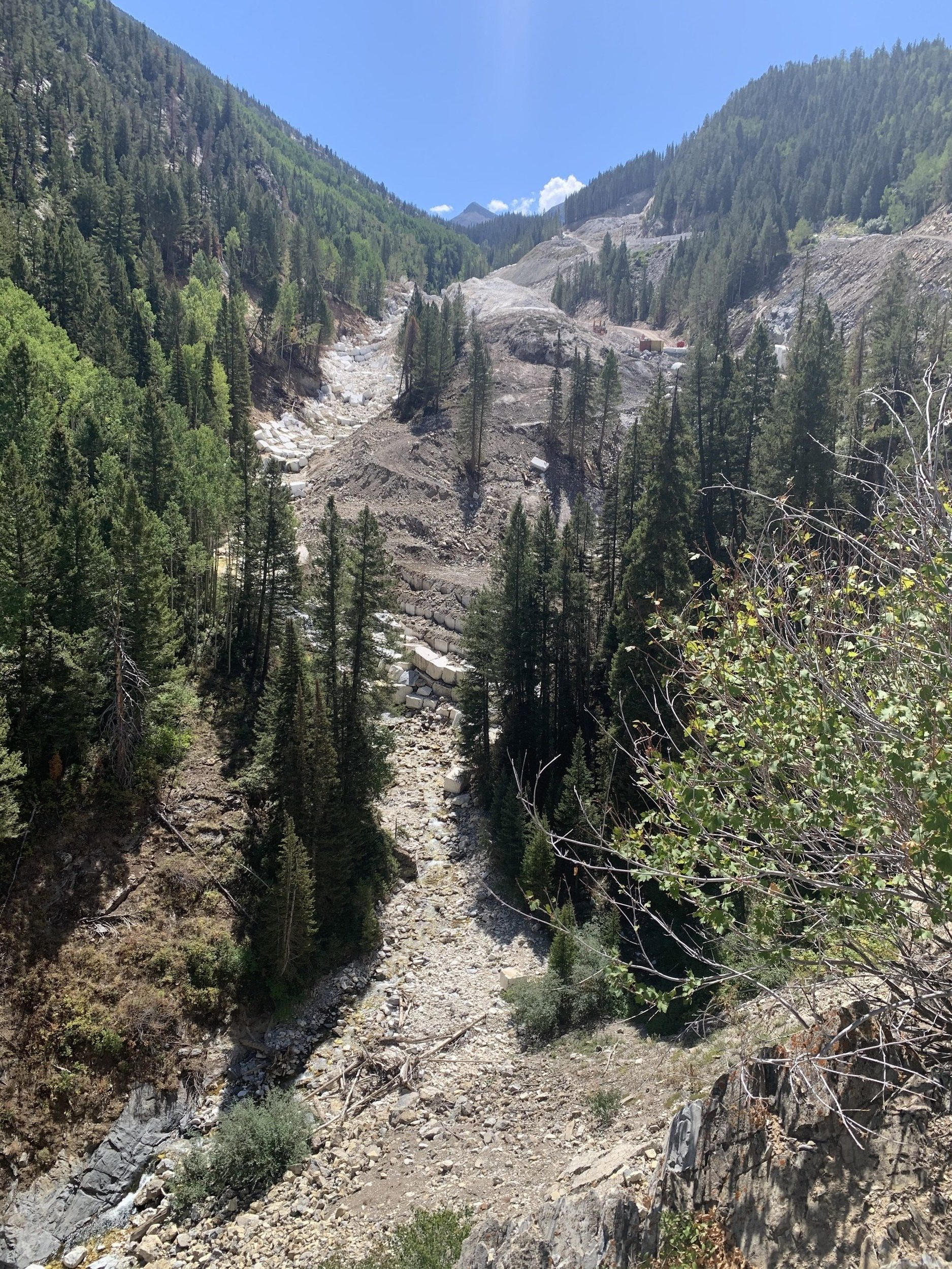 Marble Quarry seen fr om Yule Creek Road , August 2019. Photo by John Armstrong.
