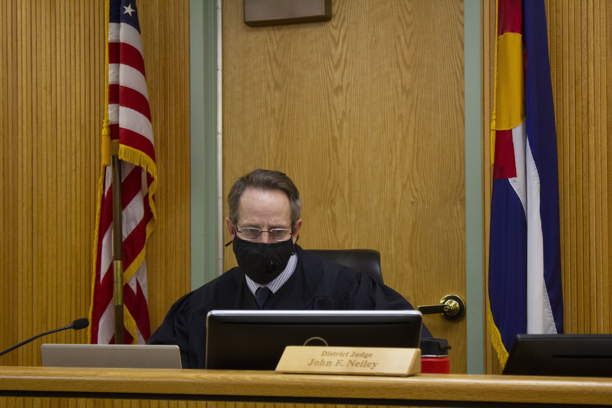Ninth Judicial District Court Judge John Neiley prepares for yet another virtual hearing. Photo by James Steindler.