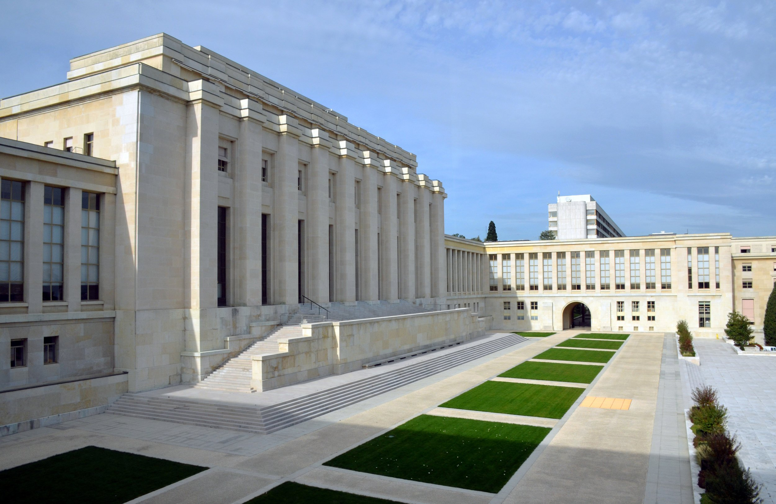 The Palace of Nations (French: Le Palais des Nations), is the home of the United Nations Office at Geneva. Photo by Vassil, Wikimedia Commons.
