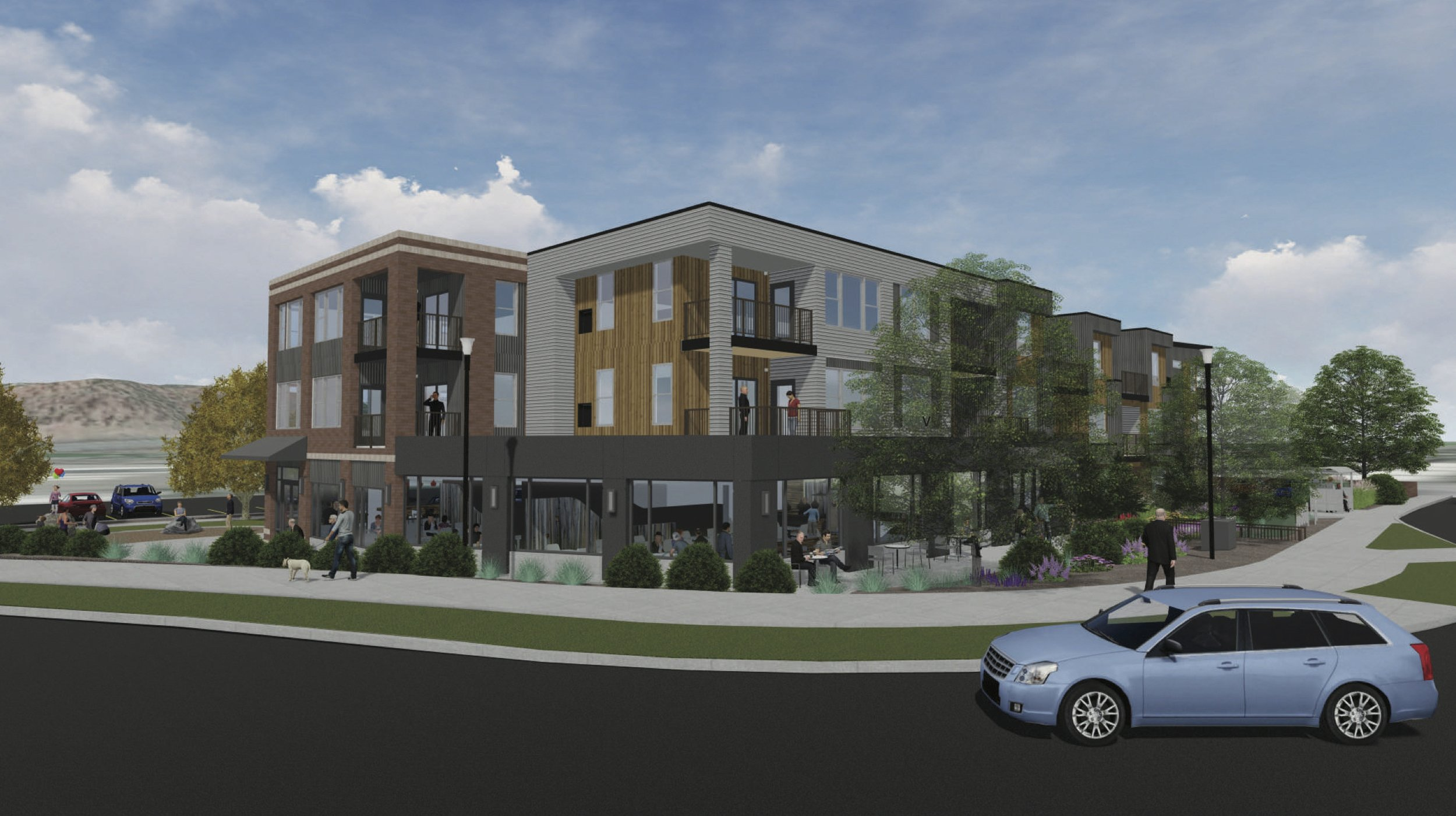 This rendering of 1201 Main St. portrays a new building currently under construction next to the roundabout. Courtesy image.